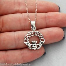 Claddagh Necklace - 925 Sterling Silver Love Loyalty Friendship Irish NEW Charm