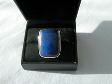 LOT 420 STUNNING LARGE LAPIS LAZULI SOLID STERLING SILVER RING SIZE I 1/2