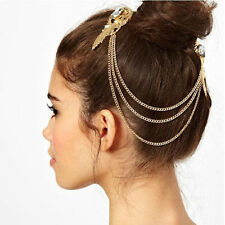 Medieval Headdress -  Lovely Gold Tone Chain with Crystal Clips - Very Elegant