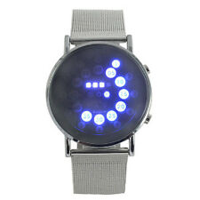 Herren Armbanduhren LED Round Uhr Mirror Blue Circles Edelstahl Digital Watch