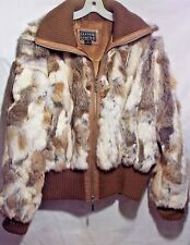 Patchwork Rabbit Fur with Leather Bomber Jacket XL
