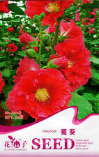 1 Pack 30 Red Hollyhock Seeds Althaea Rosea Garden Flowers A028