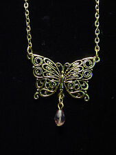"""JJ"" Jonette Jewelry Antique Gold Pewter Lace Butterfly Pendant 16"" Necklace"