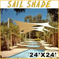New Deluxe Sand Rectangle Square Backyard Patio Sun Sail Shade Cover-24'x24'