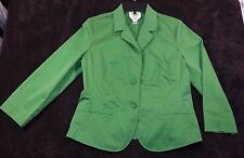 Women's Talbots Stretch Green Fitted Blazer Jacket 3/4 sleeve 2 button size 10