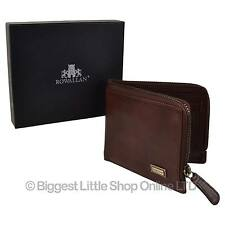 NEW Mens VINTAGE Buffalo LEATHER Bi-Fold Wallet by ROWALLAN Zipped Change VegTan