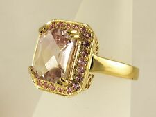 STUNNING PINK SAPPHIRE & BOLIVIAN AMETRINE 9CT GOLD RING HEAVY NEW SALE ONE ONLY