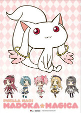 Puella Magi Madoka Magica Kyubey & Girls Wall Scroll Fabric Poster (GE-77602)