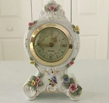 "Dresden Porcelain Floral Rococo Shelf Boudoir CLOCK Mercedes 6 1/2"" Germany"