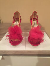 NIB BADGLEY MISCHKA KIWI RASBERRY FUSCHIA PINK SATIN OPEN TOE HEELS, SZ 5 1/2