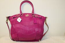 COACH NWT 18643 Madison Lindsey Gathered Leather Magenta Satchel Bag Purse