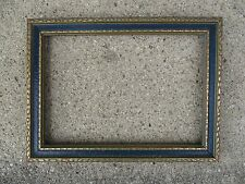 Nice Vintage Art Deco era Blue and Gold Picture Frame with Glass fits 7 x 10
