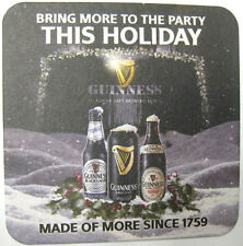 GUINNESS, BRING MORE TO PARTY THIS HOLIDAY Stout Beer COASTER, Mat, IRELAND 2011