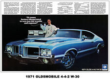 13x19 1971 OLDS 442 CUTLASS 4-4-2 AD ART POSTER PRINT 455 W-30 DR. OLDSMOBILE