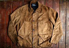 VTG RALPH LAUREN POLO BROWN SUEDE LEATHER HARRINGTON DRIVING JACKET BOMBER M/L