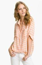 Bella Dahl gingham check plaid button down shirt sz medium peach placket top