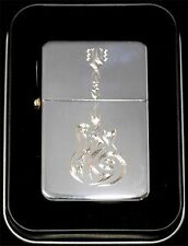 Tribal Guitar Music Engraved Chrome Cigarette Lighter Gift Case Gift LEN-0037