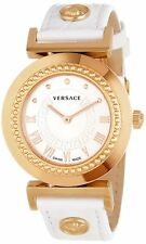 Versace Women's P5Q80D001 S001 Vanity Gold IP Steel White Leather Wristwatch