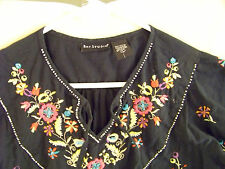 Bay Studios Black 100% Cotton Embroidered Flowered Jeans Top, $10.00