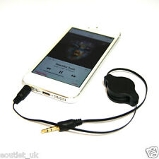 Premium Gold 3.5mm Retractable Aux Jack Audio Cable Lead for iPhone iPod Mp3 NEW
