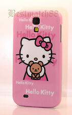 for Samsung galaxy S4 pink white teddy bear case cover cute kitty kitty for SIV