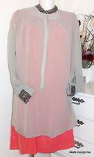 Ester Elenora tunic Beads Long blouse Olivia gray perls blouse tunic S M L