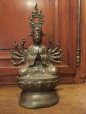 ancienne statue sculpture bronze asiatique chinoise cambodge epoque 1900