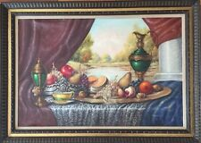 Original VTG Oil On Canvas Still Life Painting Listed Artist Karoly Reinprecht