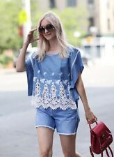 Rare! SIZE S NWT ZARA DENIM BLUE EMBROIDERED Top TUNIC Blouse bloggers