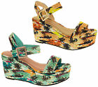 Womens Flatform Sandals Ladies Chunky Sole Platform Wedge Heels Size 3 4 5 6 7 8
