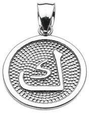 "Sterling Silver Arabic Letter "" kaaf "" K Initial Charm Pendant"