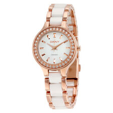DKNY White Dial Rose Gold Steel and White Ceramic Ladies Watch NY8141