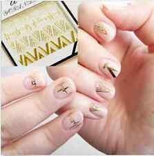 1Sheet Heartbeat Stickers Gold V Shape 3D Nail Art Stickers