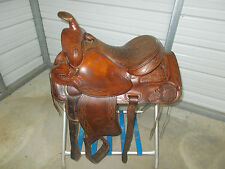 "Vintage 15"" Hereford Tex Tan roping saddle with some tooling and leather seat"