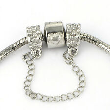 Authentic charm safety chain love European bead Fit charms bracelets Lot