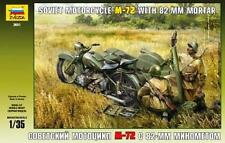 Zvezda 3651 Soviet Motorcycle M-72 with a mortar 1/35 model kit maqueta