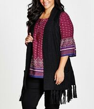 Plus  Size Ladies Black Thick Knitted Fringe Vest Size 22-24 Free post RRP $80