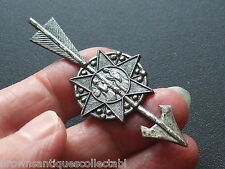 ANTIQUE VICTORIAN RARE THOMAS FATTORINI PEWTER RELIGIOUS ARROW ANGEL BROOCH PIN
