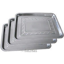 "Lot 3 Stainless Steel Tray 14"" x 10.2"",Work Station Prep,Tattoo Medical Supplies"