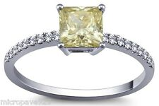 Canary Yellow Cubic Zirconia Square Princess Cut Soliraire Ring Pave Set Size 7
