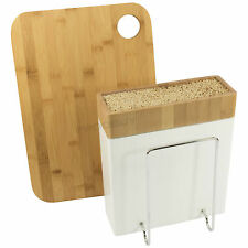 Typhoon Bamboo Chopping Board & Universal Knife Block Storage Holder Kitchen Set