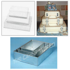 "3 TIER HEAVY DUTY RECTANGLE WEDDING CAKE TINS 6"" 8"" 10"""