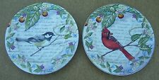 2 American Atelier Morning Song 5071 Salad Plate Bird French Writing Fruit Rim A