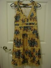 Korea Yellow Floral Velvet Dress with Lace Trim