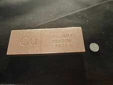 "COPPER BAR 1 KILO-FLAT- 2.2 LB .999 UNIQUE ""CU"" DESIGN  FINE  BULLION"