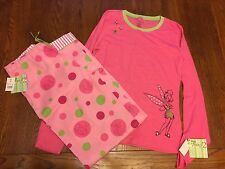 Disney Women's Tinkerbell Pajama Set NWT Top Size XS Pants Size S