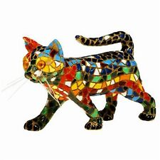 Mosaic Cat Figurine - Multi Coloured Walking Cat - Hand Painted  Barcino (Large)