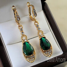 Pretty Yellow Gold Plated Dangle Drop Earrings with Clear & Green Crystals 158