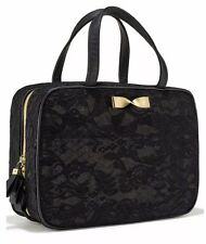 New~Victoria's Secret Hanging Travel Case Makeup Bag Black Lace Gold Bow