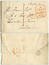 Gb 1840 Hertford penny post en rouge + london payé une pierre tombale oct 26